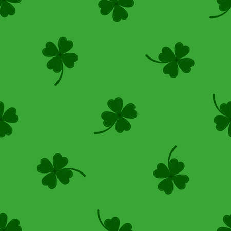 Clover leaves seamless pattern on green background. Green lucky four leaf clover plant print. Flat design cartoon style vector floral endless texture for Irish St. Patrick s day.