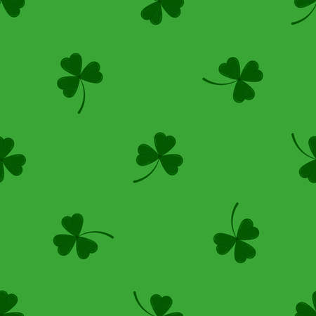 Clover leaves shamrock seamless pattern on green background. Green lucky tree leaf clover plant print. Flat design cartoon style vector floral endless texture for Irish St. Patrick s day.