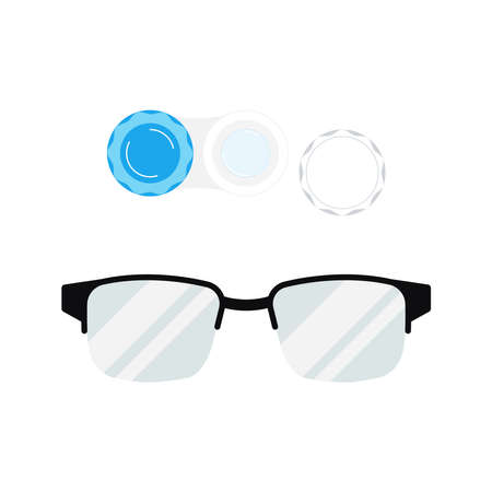 Contact lenses with case and eye glasses icon set isolated on white background. Flat cartoon style diopter contact lenses in case and eyeglasses with plastic frame vector illustration.