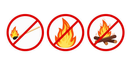 No bonfire or camping, no open fire sign set isolated on white background. Prohibition open flame symbol. Burning bonfire with sparks, wood logs in red crossed circle. Vector flat design illustration