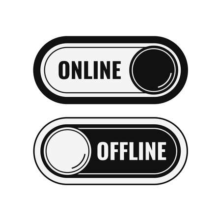 Online and offline black contact or work icon set isolated on white background. Online live and offline button indicators with round slider collection. Flat design cartoon simple vector illustation