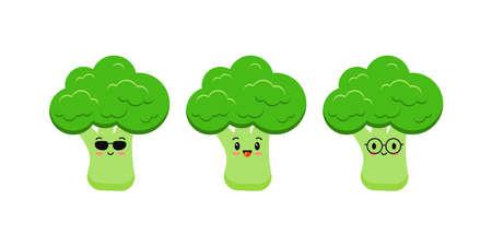 Cute broccoli funny cartoon vegetable food icon set isolated on white 版權商用圖片 - 165986132