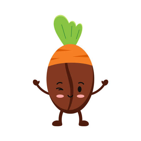 Easter cute coffee bean in carrot costume icon isolated on white baclground.