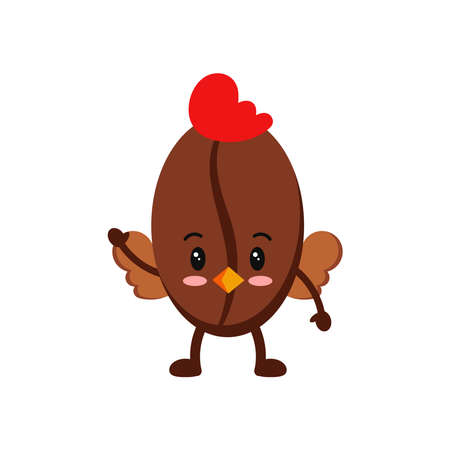 Easter cute coffee bean in hen costume icon isolated on white baclground.