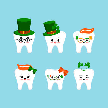 St Patrick day tooth icon set isolated.