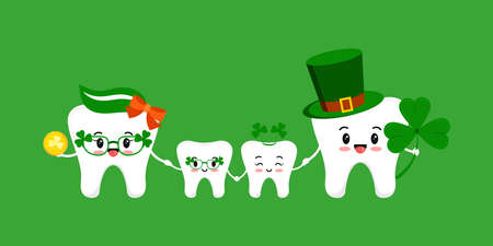 St Patrick day teeth family together isolated.