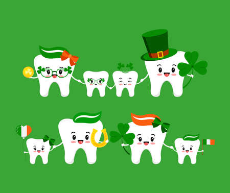 St Patrick day teeth family isolated on background.