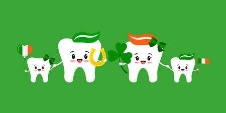 St Patrick day teeth happy family isolated. 版權商用圖片 - 165738290