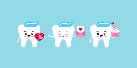 Teeth with gifts dental icon set isolated. 向量圖像