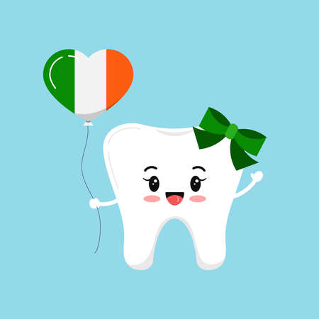 St Patrick day cute tooth dental icon isolated.
