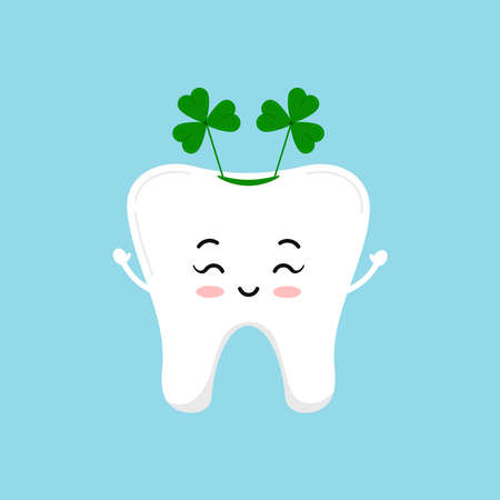 St Patrick day tooth dental icon isolated.