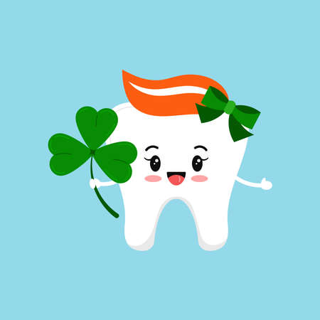 St Patrick cute tooth dental girl icon isolated.