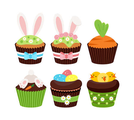 Easter cupcakes with kids decor set isolated on white background.