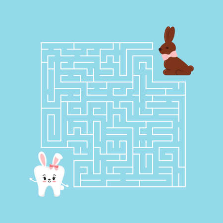 Easter tooth kids maze game illustration in cartoon style.