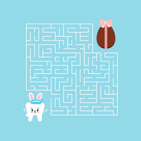 Easter bunny tooth kids maze game with labyrinth.