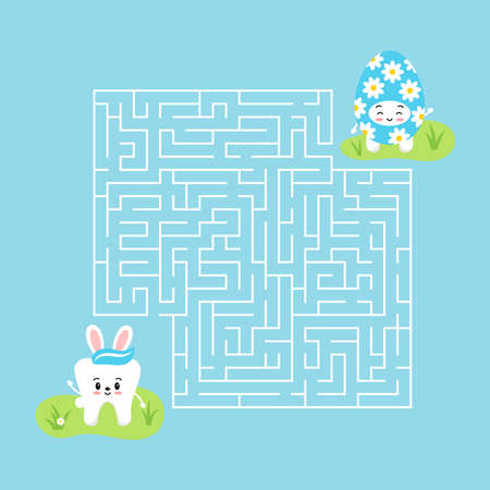 Easter tooth kids maze game illustration in cartoon style 向量圖像