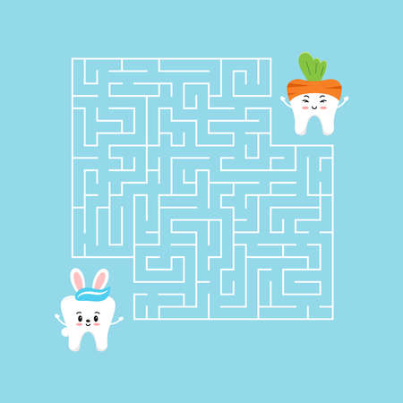 Easter tooth kids maze game vector illustration.