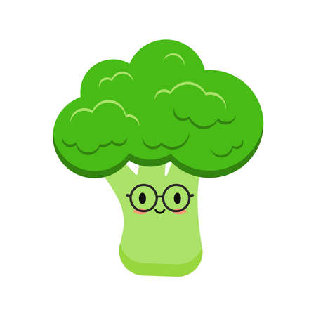 Cute broccoli with eyeglases cartoon vegetable kids icon isolated on white background.