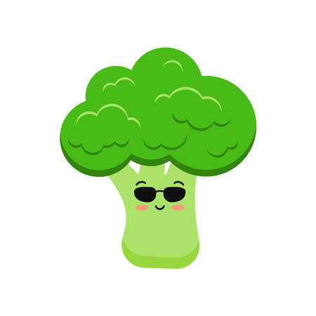 Cute broccoli vegetable in sunglases cartoon kids icon isolated on white background.