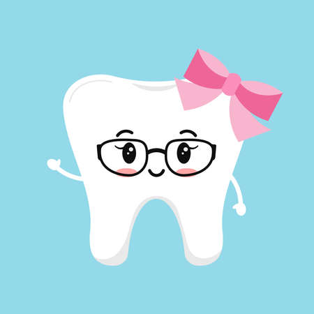 Cute tooth girl in glasses with pink bow and hands.