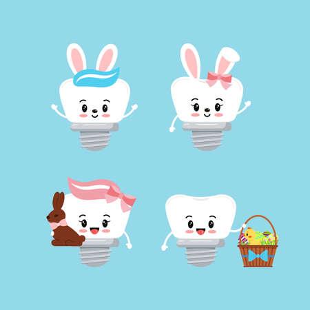 Easter teeth dental implant icon set isolated. 向量圖像
