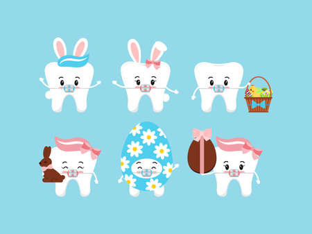 Easter tooth dental braces icon set isolated. 向量圖像