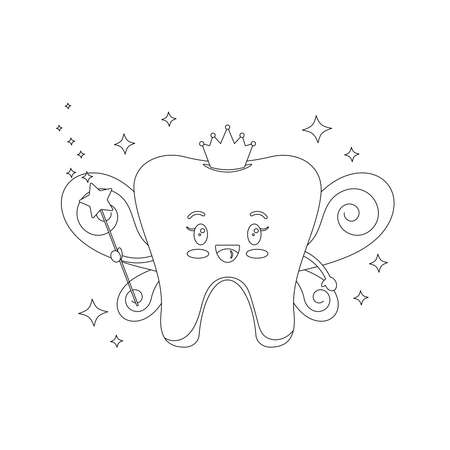 Cute Tooth Fairy dentist coloring page vector illustration.