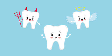 Cute tooth upset think and devil with angel on its shoulder.