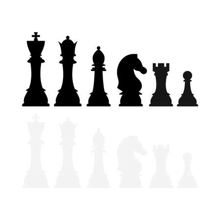 Chess pieces silhouette vector icon set isolated on white background.