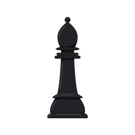 Bishop chess piece vector icon isolated on white background.