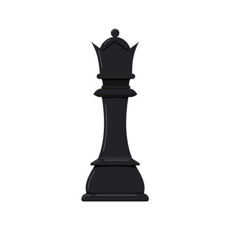 Chess piece queen vector icon isolated on white background.