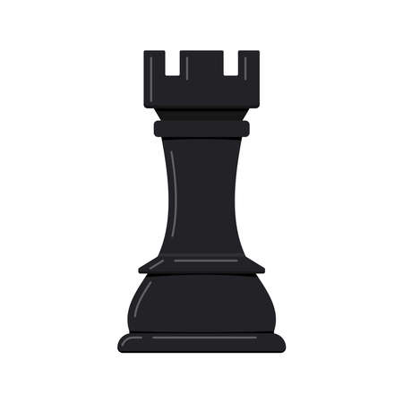 Chess rook piece vector icon isolated on white background. 向量圖像