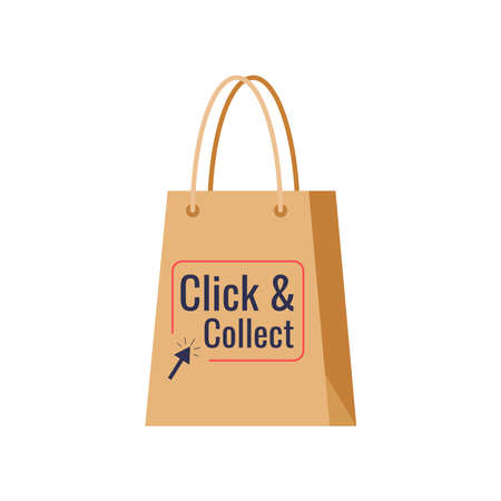 Click and collect delivery retail icon isolated on white background.