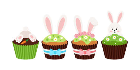 Easter bunny cupcakes set isolated on white background. 向量圖像