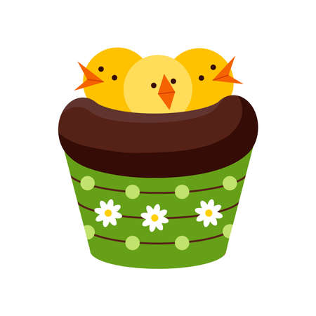 Easter chocolate cupcake with chicks in nest isolated on white background.