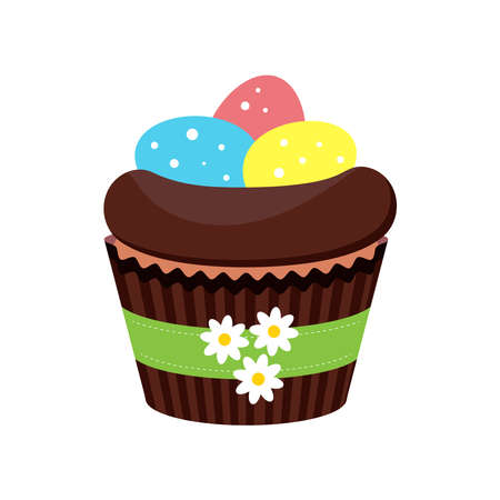 Easter cupcake with eggs in nest isolated on white background. 向量圖像