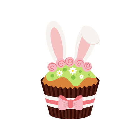 Easter cupcake with bunny ears icon isolated on white background.