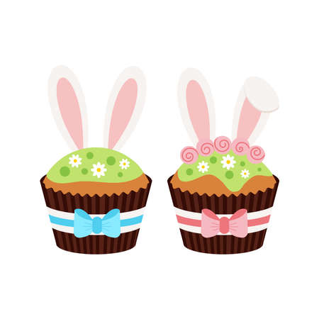 Easter cupcakes with bunny ears set isolated on white background. 向量圖像