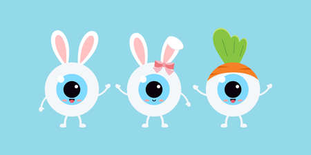 Easter cute eye ball with bunny ears and carrot icon set. 向量圖像