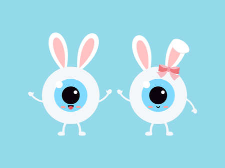 Easter cute eye ball with bunny ears icon set.