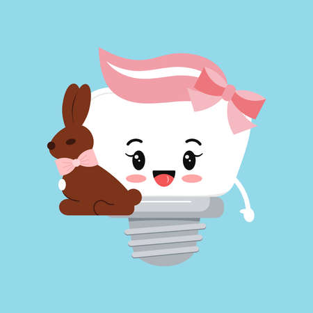Easter tooth dental implant with chocolate rabbit icon isolated.