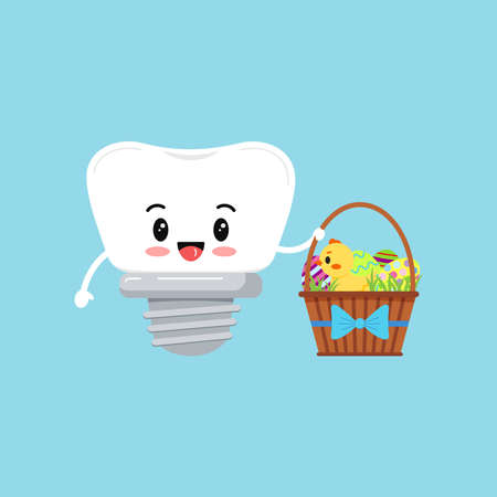 Easter tooth dental implant boy icon isolated. 向量圖像
