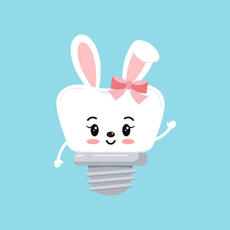 Easter tooth dental implant with bunny ears icon isolated. 向量圖像
