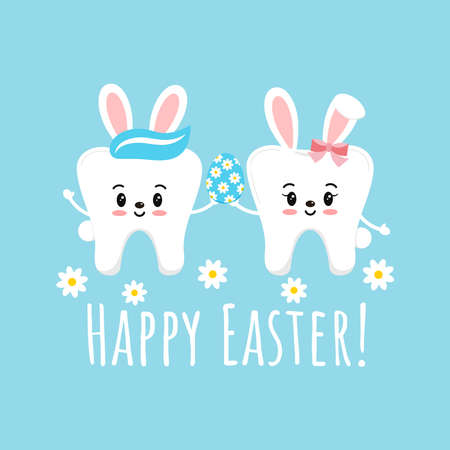 Easter cute smile teeth with bunny ears on dentist greeting card.