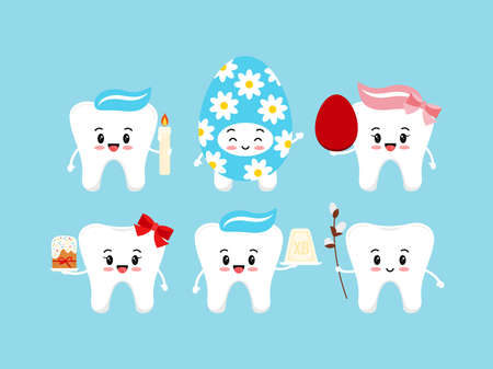 Orthodox Easter cute teeth dental icon set.