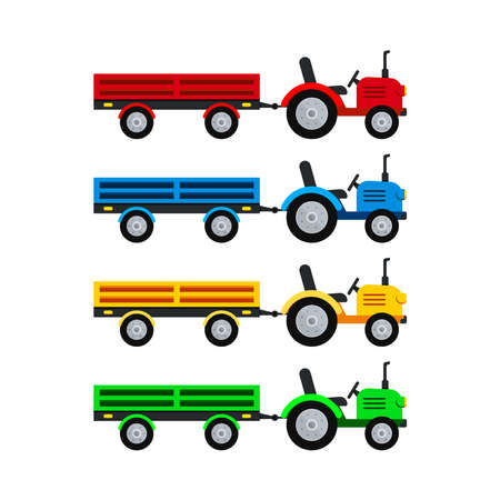 Tractor with open trailer farm vector set isolated on white background.
