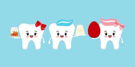 Orthodox Easter cute teeth dental icon set. 版權商用圖片 - 167421536