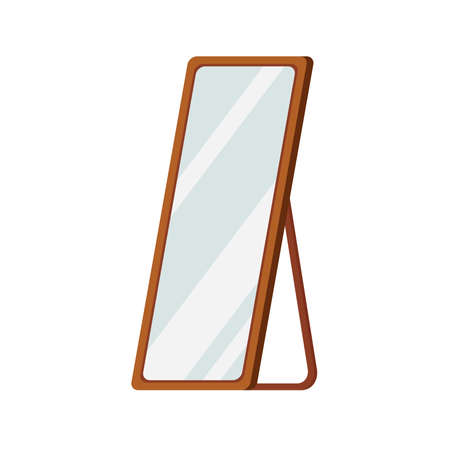 Mirror with wood frame stand on floor isolated on white background.