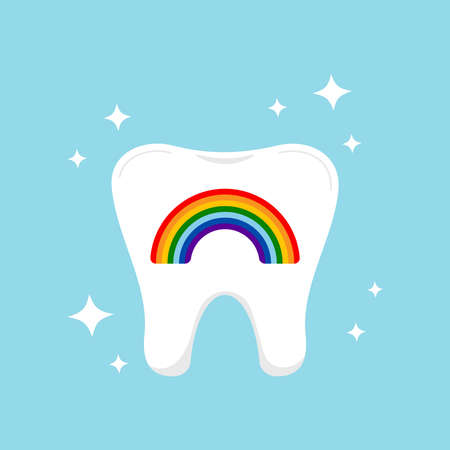Tooth with rainbow dental icon siolated on background.