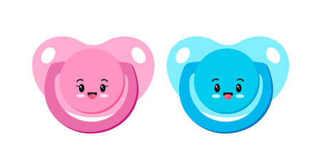 Pacifier baby dummy character vector icon set isolated on white background. 向量圖像
